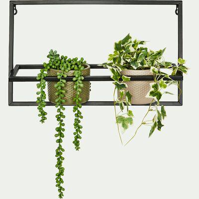 Porte-plante en métal noir L41xH25cm-IZA