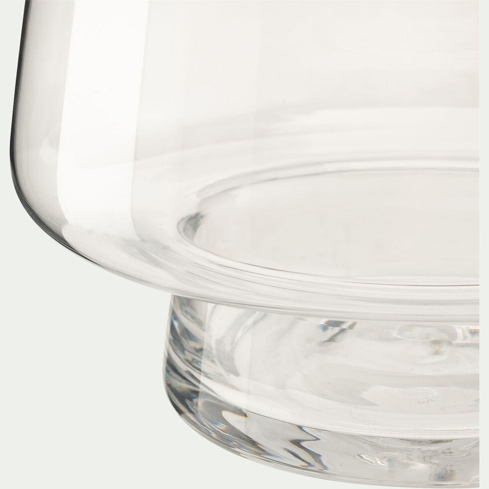 Vase conique fait-main en verre - transparent D20xH23,5cm-POLYGALA