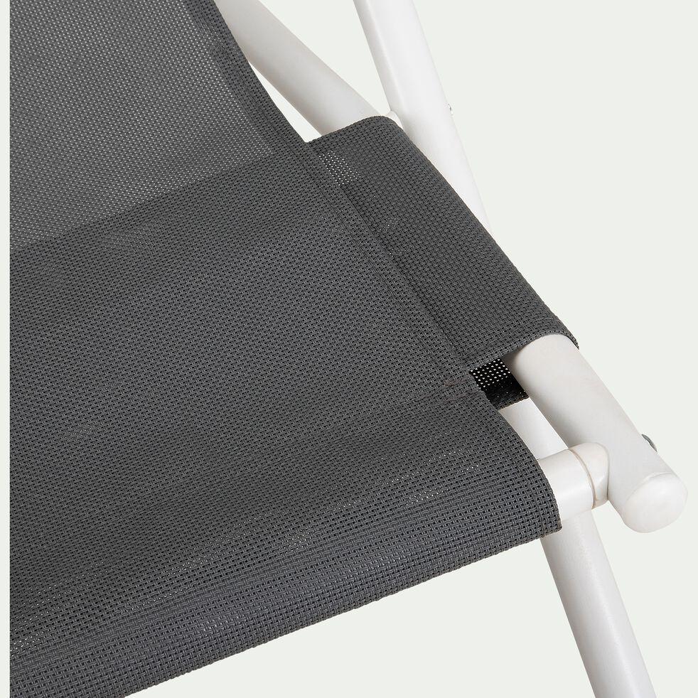 Chilienne en acier et toile enduite 3 positions - gris ardoise-SALERNA