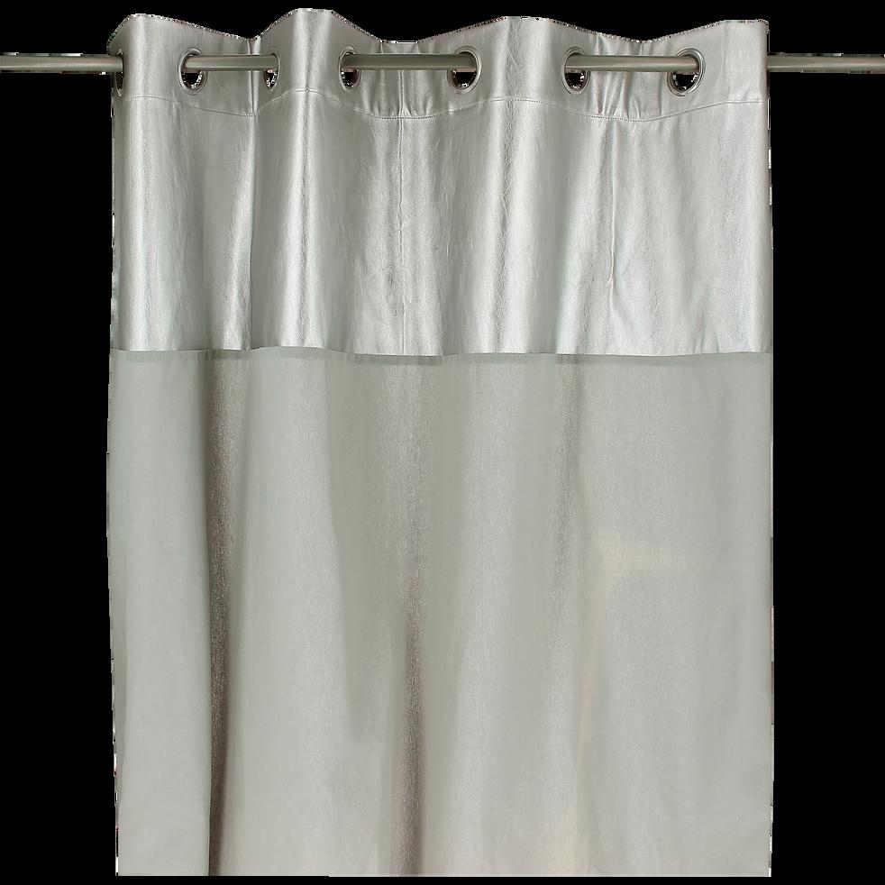 Rideau à œillets bi-matière gris et argenté 140x250cm-GOLDEN