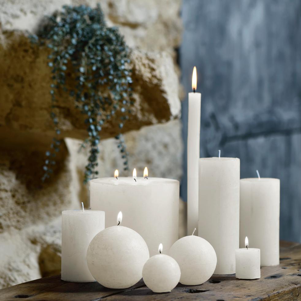 Bougie cylindrique coloris blanc nougat-BEJAIA