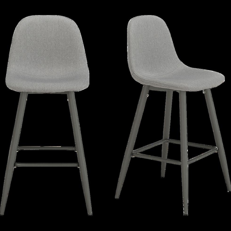 Chaise de bar en tissu gris borie H66cm-CHARLIE