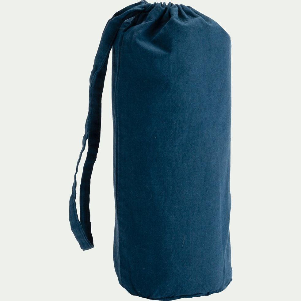 Drap housse enfant en coton 90x200+B20cm - bleu figuerolles-Calanques