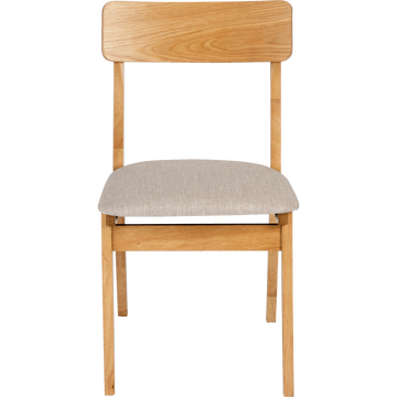 Chaise en tissu gris clair plaquée chêne-TAMARIS