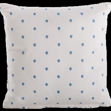 Coussin carré 40x40cm blanc motifs gouttes de pluie pour enfant-HALEY