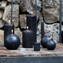 8 bougies flambeaux gris calabrun H18cm-HALBA