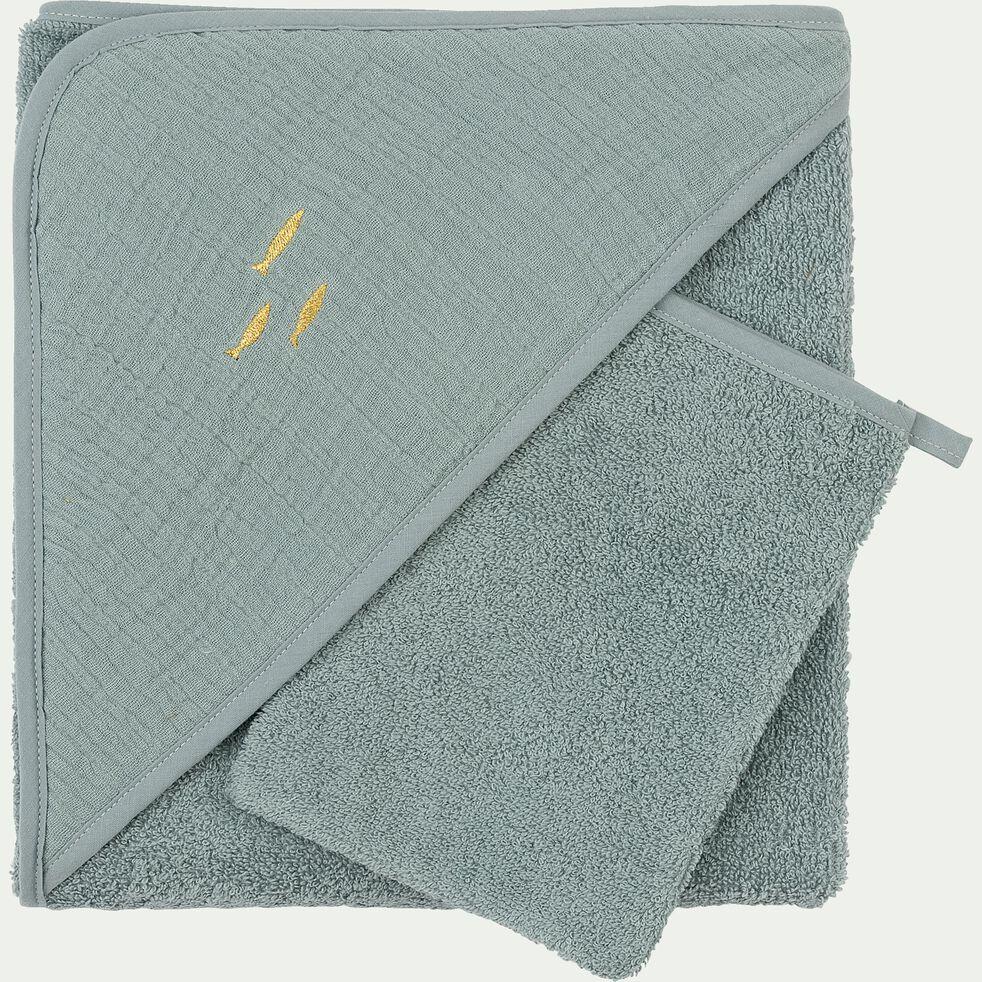 Ensemble cape de bain et gant bébé avec broderie lurex - bleu calaluna-Nuage