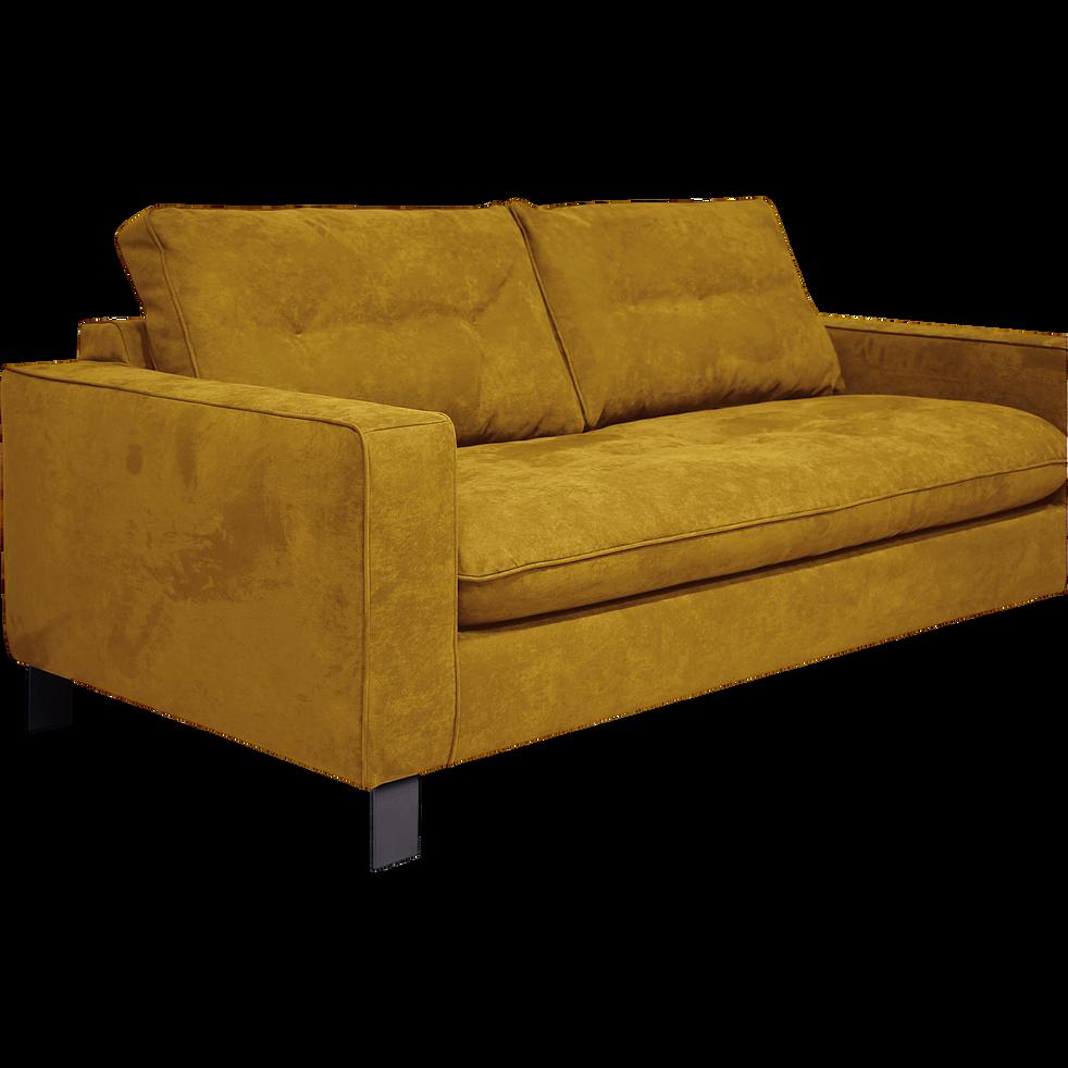 Canapé 3 places convertible en tissu jaune-ETHNICOLOR
