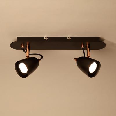 Plafonnier de 2 spots en métal noir et cuivre L35cm-RIDE