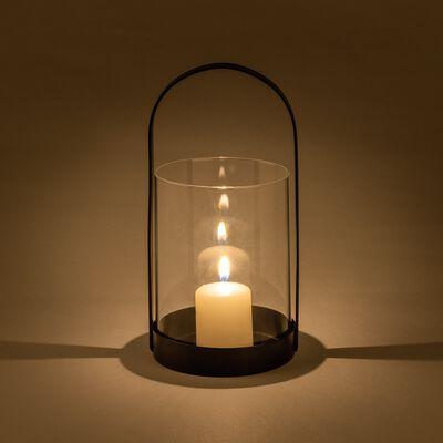 Lanterne en verre et fer - noir D9,2xH21cm-PASQUALE