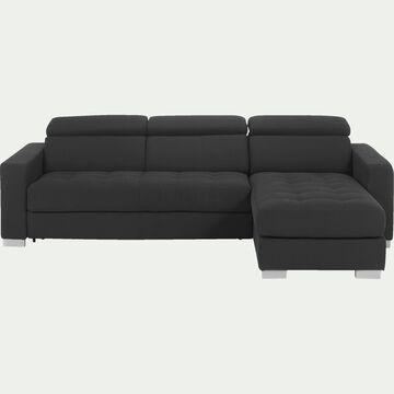 Canapé d'angle réversible en tissu gris foncé-Mauro