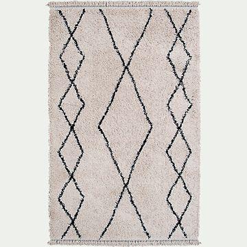 Tapis à motifs ethniques - noir et blanc 133x190cm-ILEM
