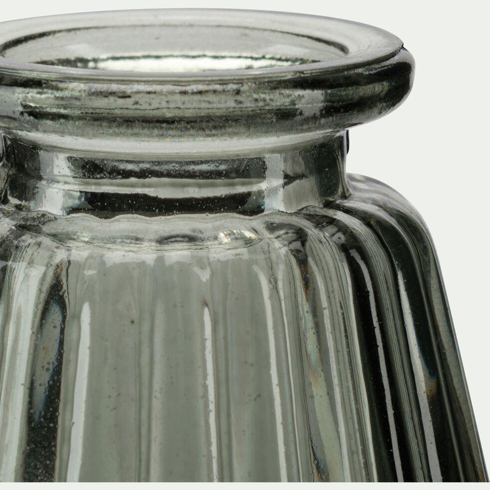 Soliflore strié en verre - gris H10cm-Psiras