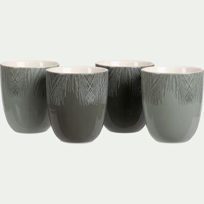 Coffret de 4 mugs vert cèdre en porcelaine-COURONNE