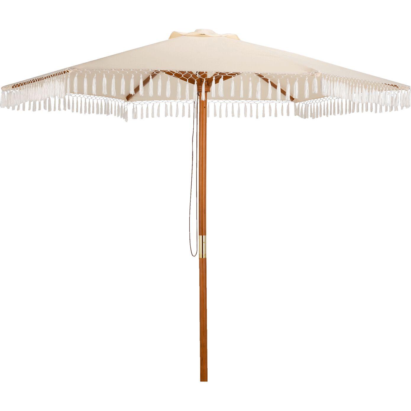 Parasol droit à franges D200cm - blanc-LALONDE