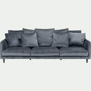 Canapé 5 places fixe en velours - gris restanque-LENITA