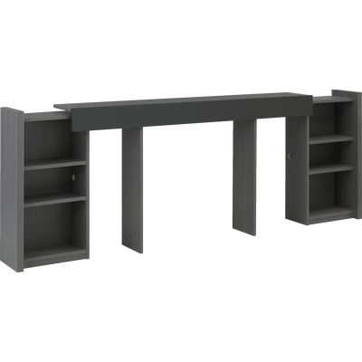 Tête de lit rangeante grise pour lit L140 cm-BROOKLYN