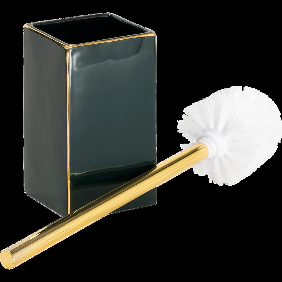Balai et porte-balai WC vert et doré-GARDENIA
