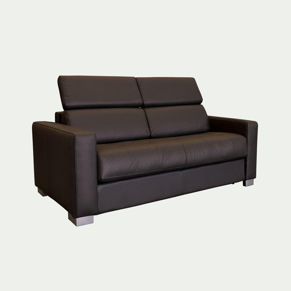 Canapé 2 places fixe en cuir avec accoudoir 15cm - marron-MAURO