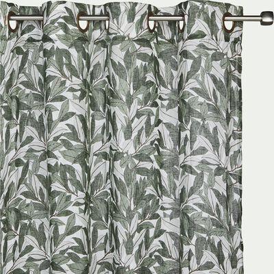 Rideau à œillets en coton et polyester motif Laurier - vert 140x250cm-LAURIER