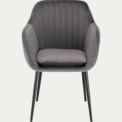 Chaise capitonnée en velours avec accoudoirs - gris foncé-SHELL