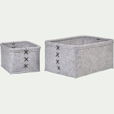 Lot de 2 paniers en feutrine gris L28xl38xH18cm-VIC