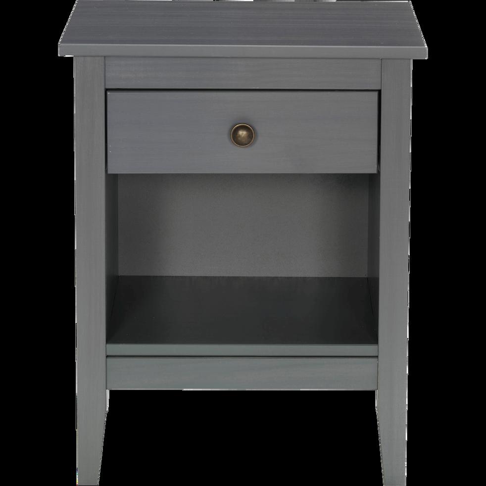 Table de chevet en pin massif gris 1 tiroir et 1 niche - Table de chevet classique ...