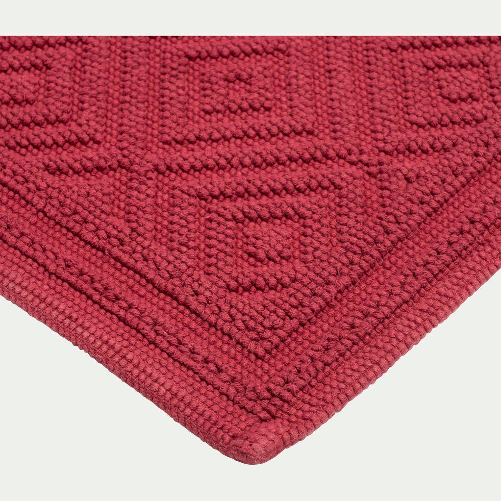 Tapis de bain surpiquage losanges en coton - rouge sumac 60x100cm-SADOU