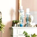 Bougeoir chandelier en verre bleu H35,5 cm-CASORIA
