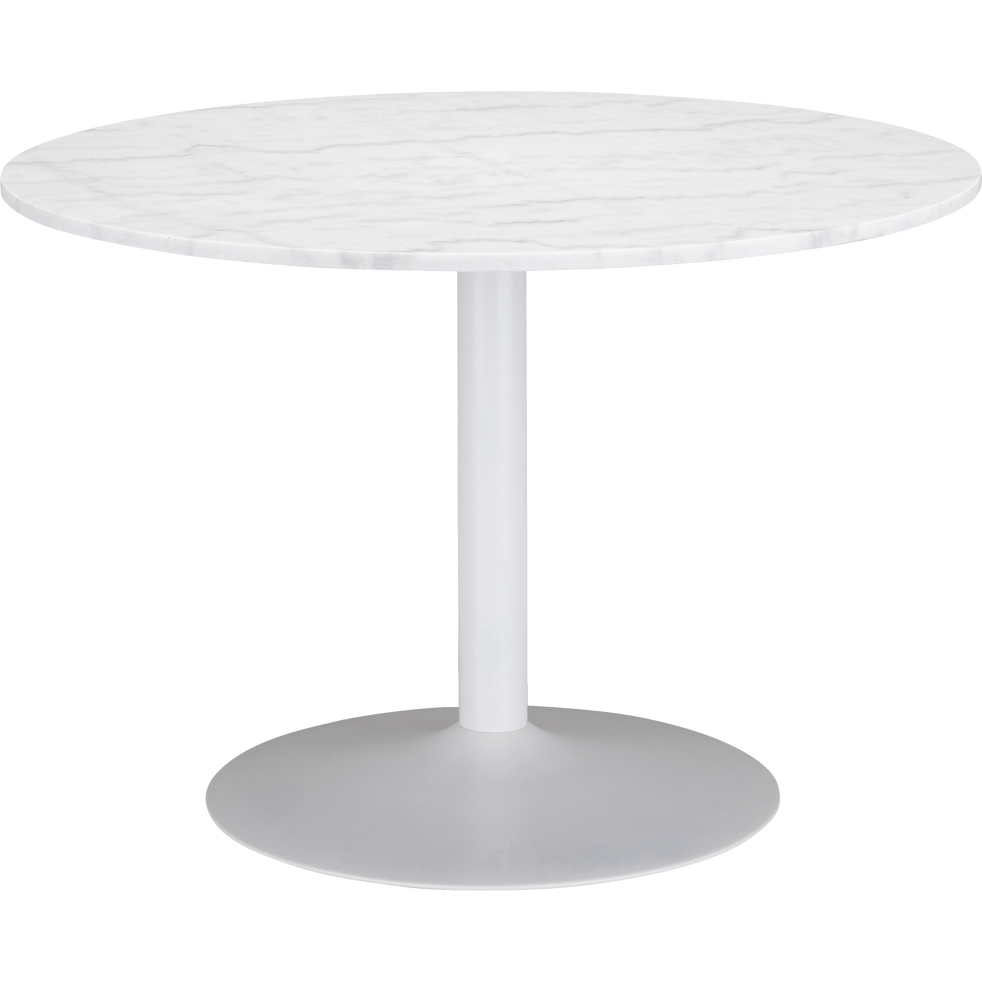 Table De Repas Ronde En Marbre Blanc 5 Places Sicile 110x110cm