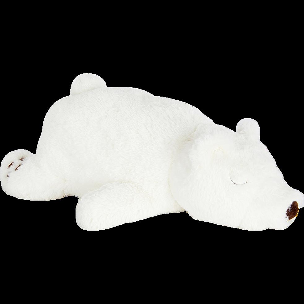 Ours en peluche blanc L36cm-MAZANOU