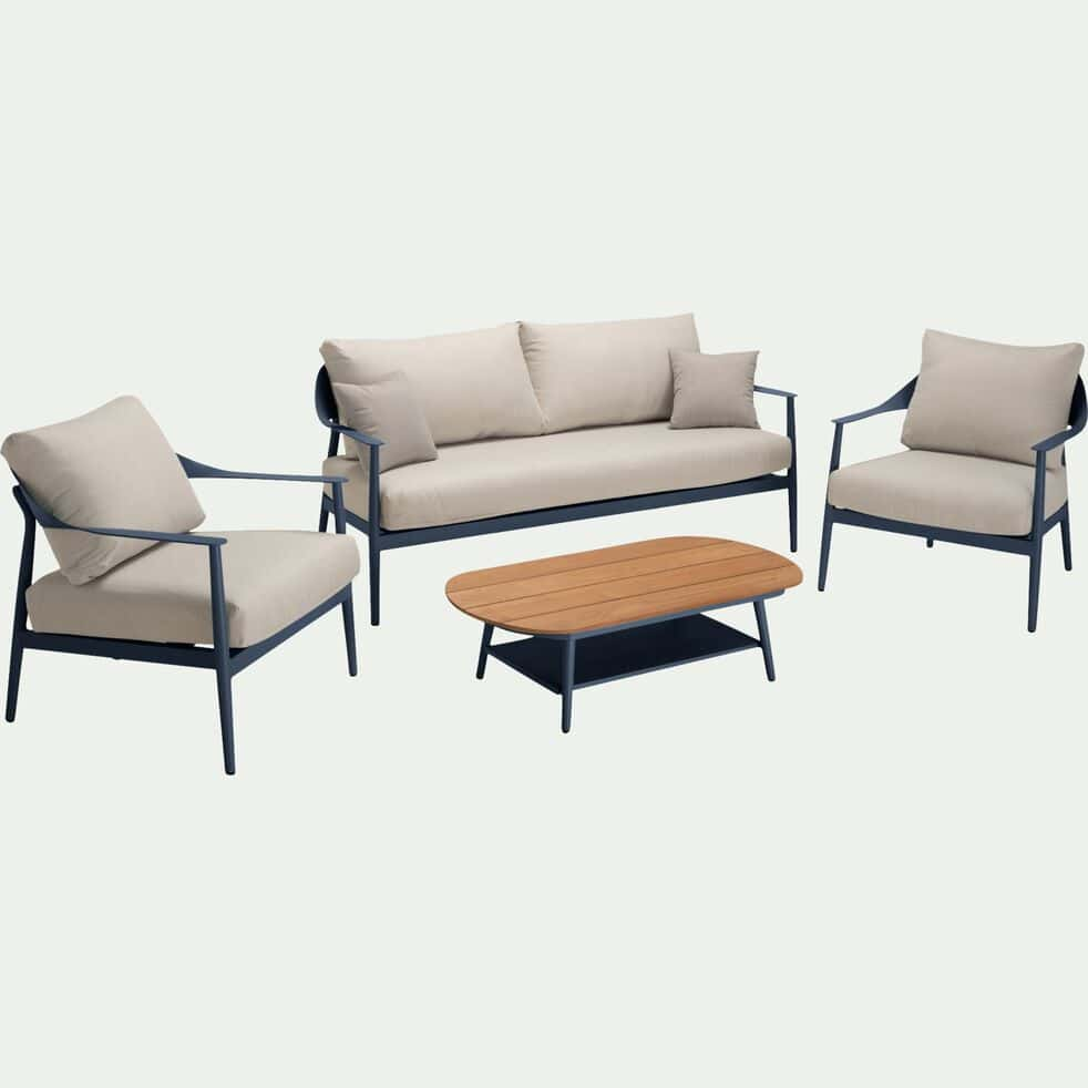 Salon de jardin en aluminium - bleu céou (5 places)-MARINELLA