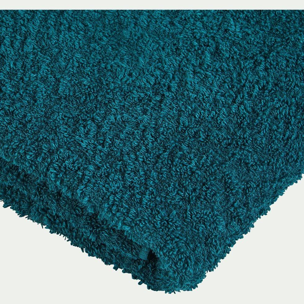 Serviette de toilette bouclette retors en coton flammé - bleu niolon 45x100cm-ADONI