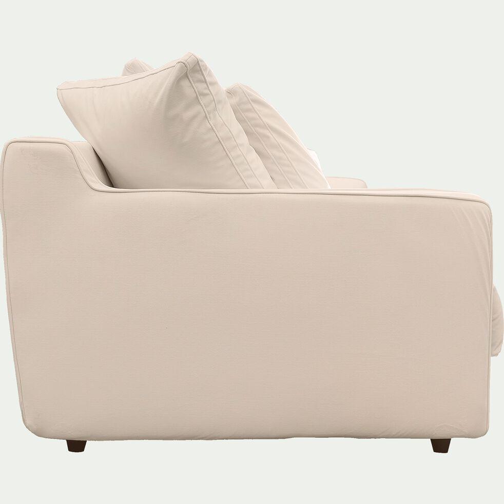 Canapé 2 places convertible en velours - beige roucas-LENITA