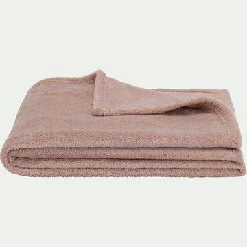 Plaid effet polaire en polyester - rose rosa 130x170cm-ROBIN