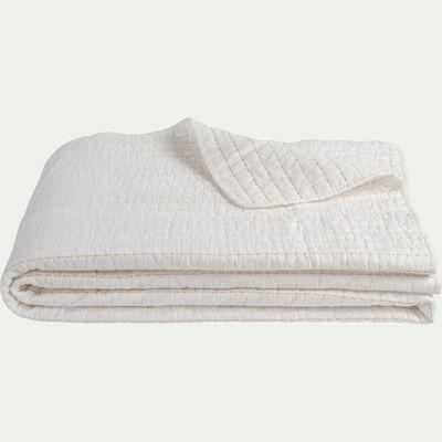 Jeté de lit en coton surpiquage - blanc ventoux 180x230cm-CASTEL