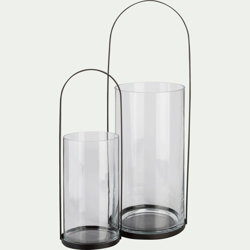 Lanterne en métal gris anthracite H50xD18cm-Pilone
