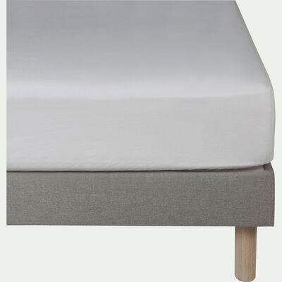 Drap housse en lin - blanc capelan 180x200cm B28cm-VENCE