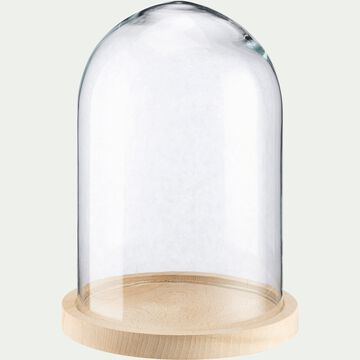 Cloche en verre et soucoupe en hêtre - transparent D17,5xH23cm-LAGUNE