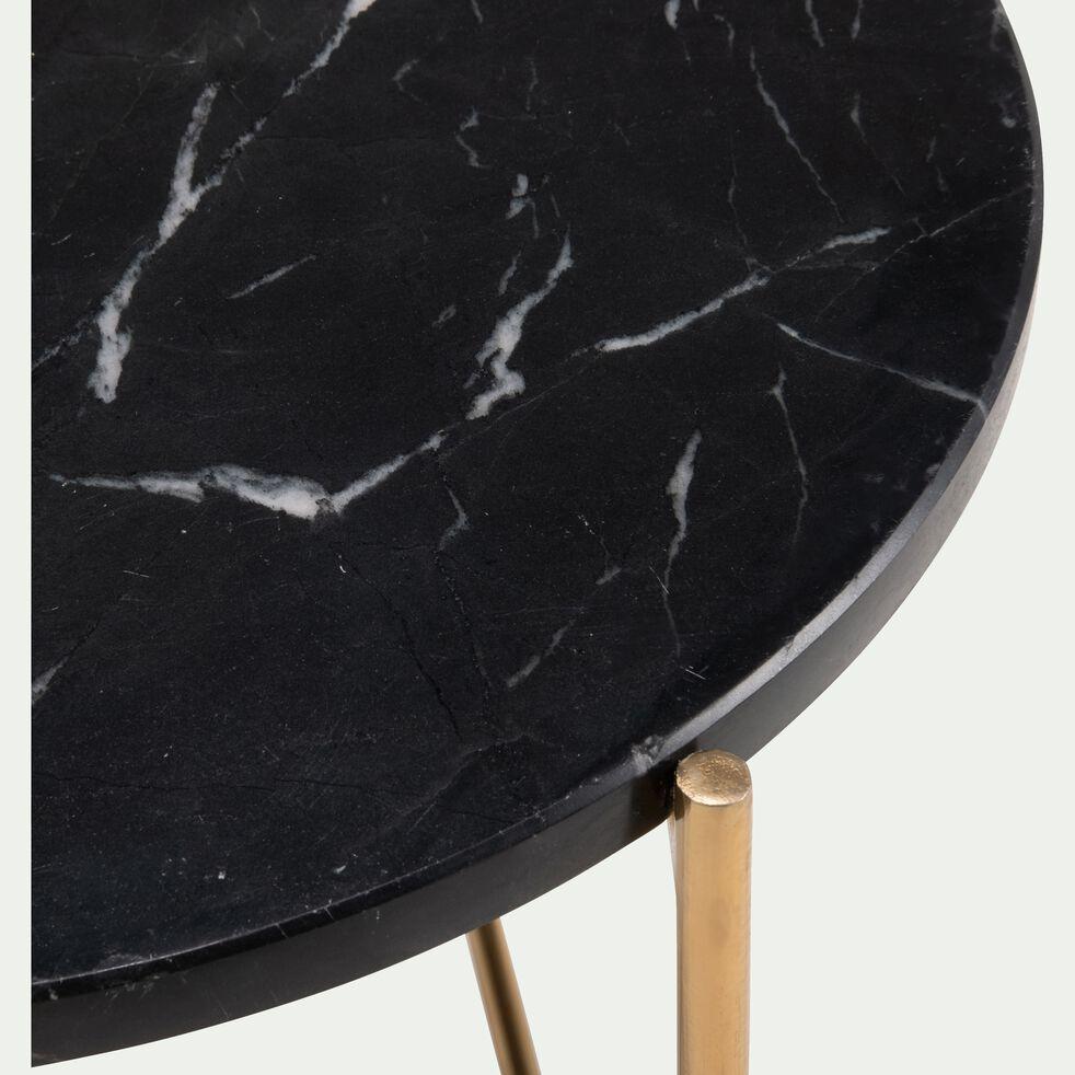 Bout de canapé rond en marbre noir et pieds en laiton-ANSE