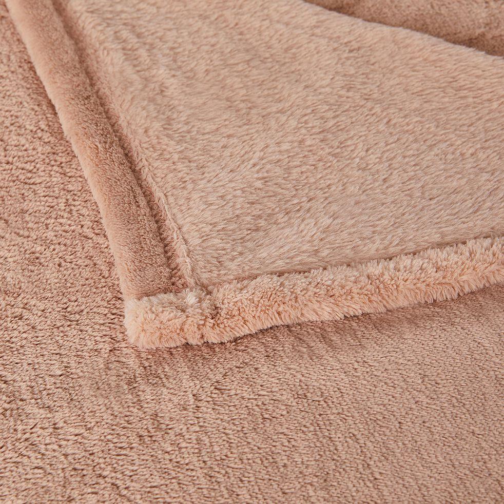 Plaid effet polaire en polyester - rose argile 130x170cm-ROBIN
