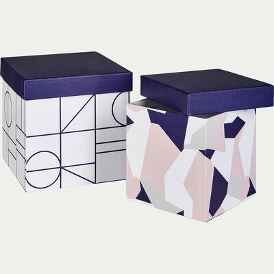 Ensemble de 2 boîtes déco coloris bleu et rose-CAMO