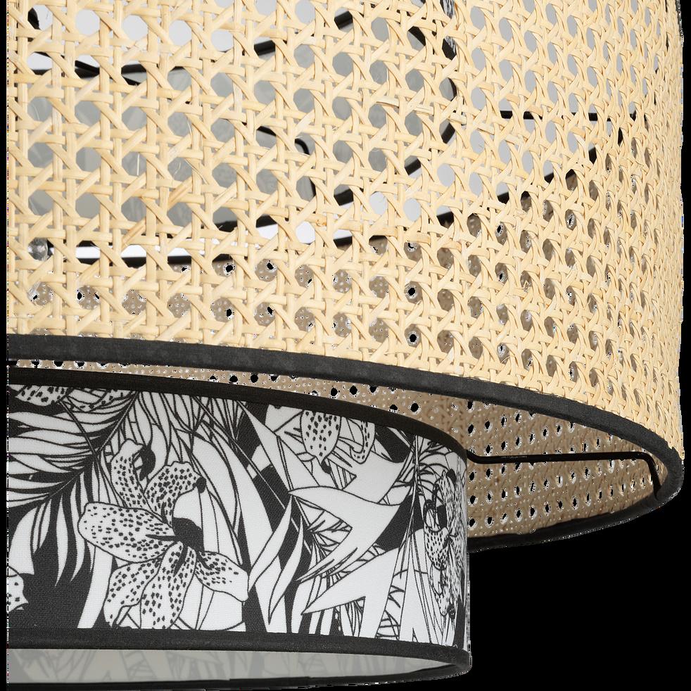 Abat-jour en cannage et motif noir et blanc D60cm-INK