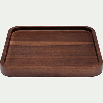 Plateau carré en bois de noyer - marron 20x20cm-FLORA
