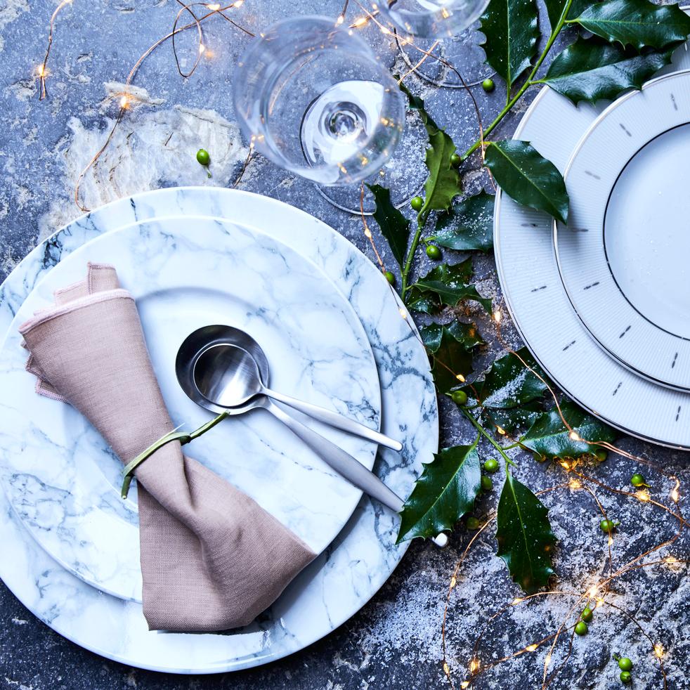 Assiette à dessert en porcelaine blanche décor marbre D23cm-MARBRE