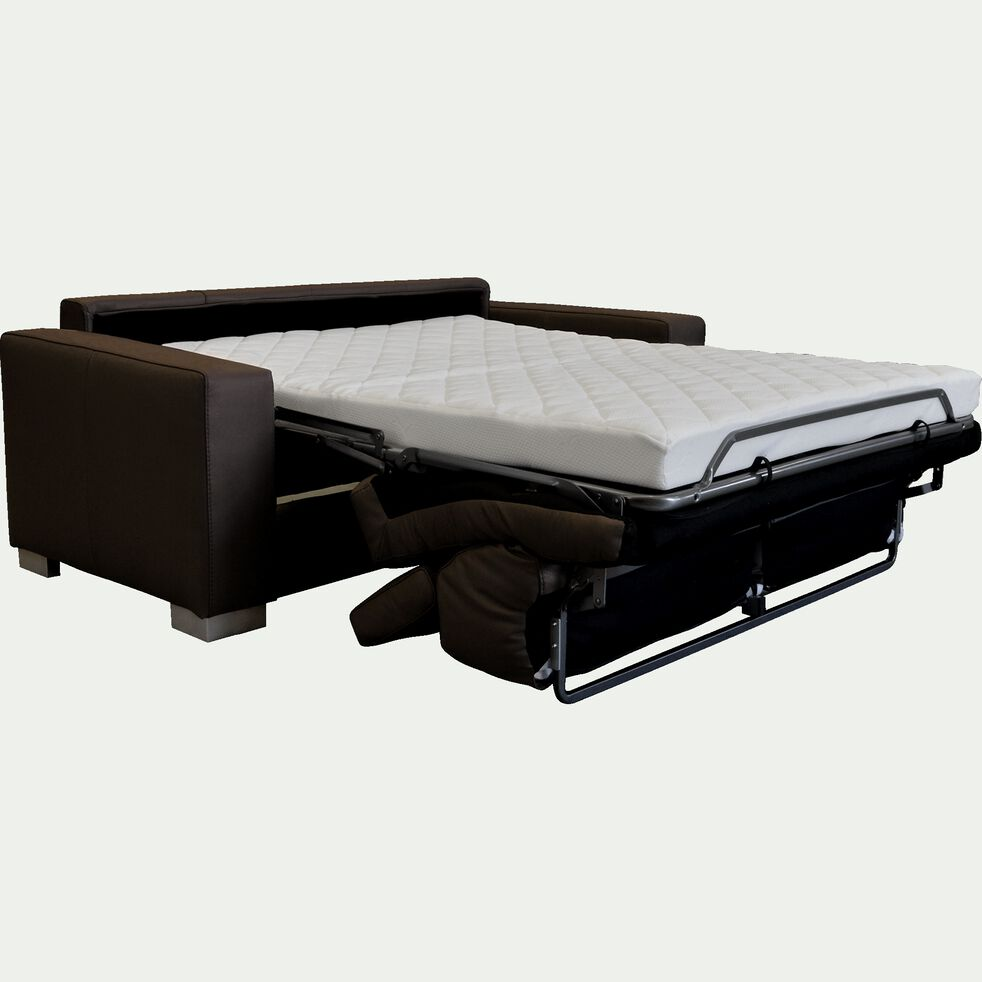 Canapé 2 places convertible en cuir avec accoudoir 20cm - marron-MAURO