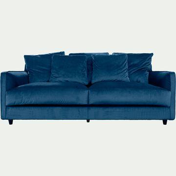 Canapé 3 places fixe en velours - bleu figuerolles-LENITA