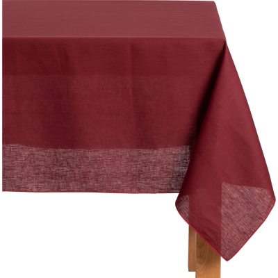 Nappe en lin et coton rouge sumac 170x170cm-MILA