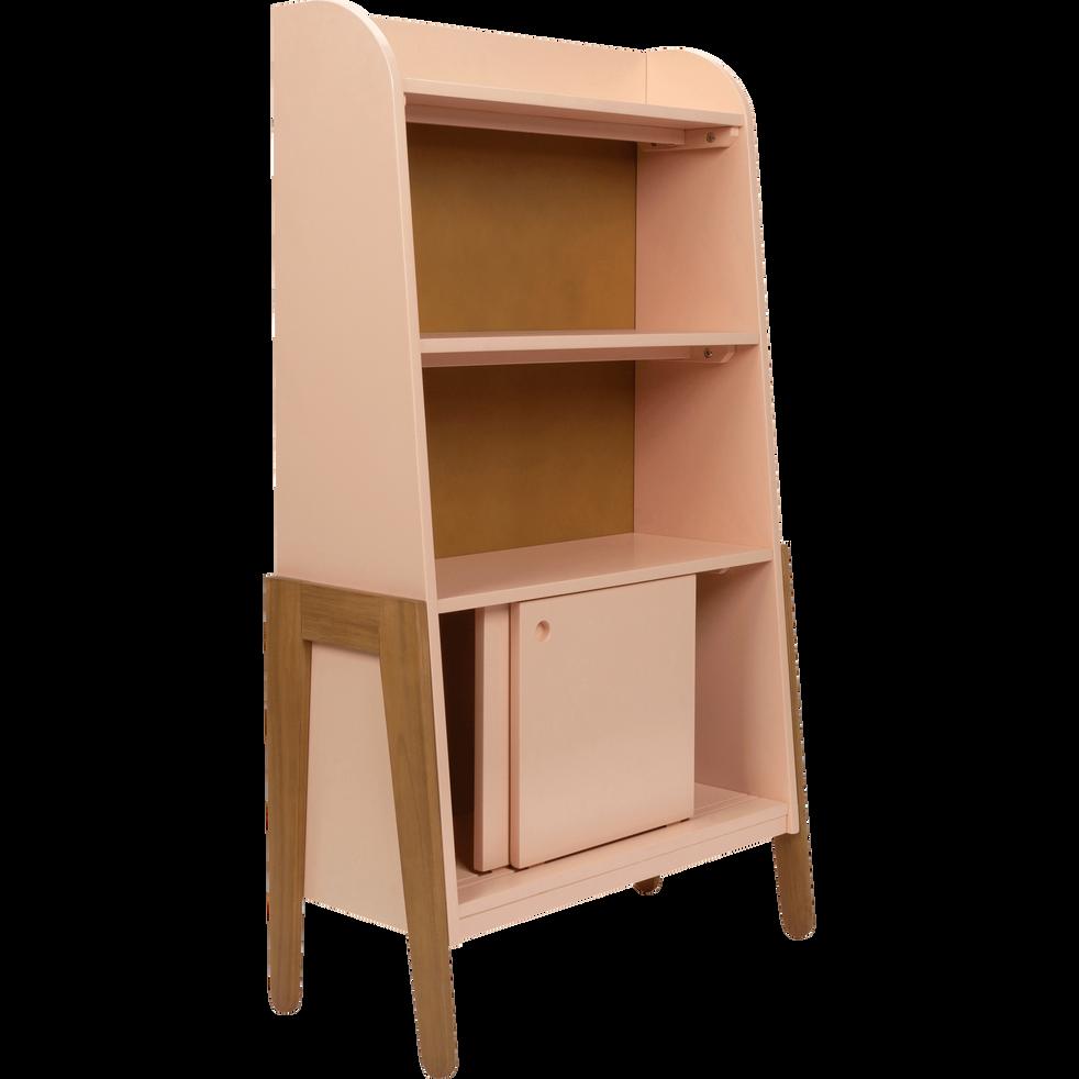 Bibliothèque en acacia pour enfant rose sable-RAPHAEL