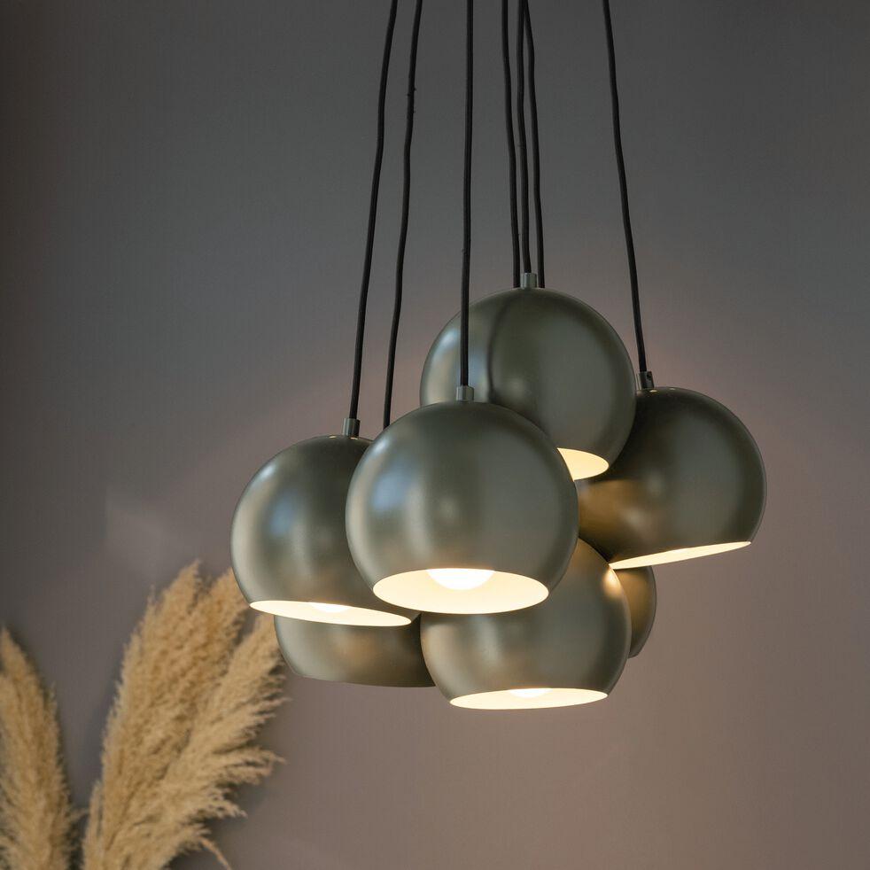 Suspension en métal - vert cèdre 7xD18cm-BALL